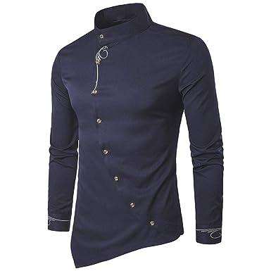 b4683eb5b62f KEERADS Herren Hemden Slim Fit Langarm Unregelmäßige Ränder Asymmetrisch  Knopf Stehkragen Business Freizeithemd (S(