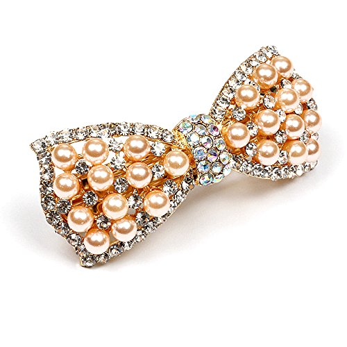 Pearl Butterfly Design (RUNHENG Woman Butterfly Design Rhinestone and Pearl Hair Clips Hairpins Accessories (Champagne))