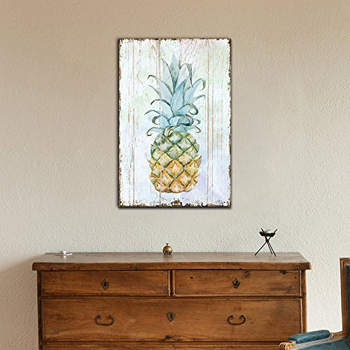 Pineapple on Wood Style Background