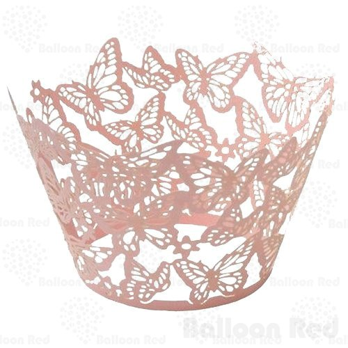 (Butterflies Artistic Filigree Lace Laser Cut Cupcake Wrappers Muffin Case, Pack of 24, Pink)