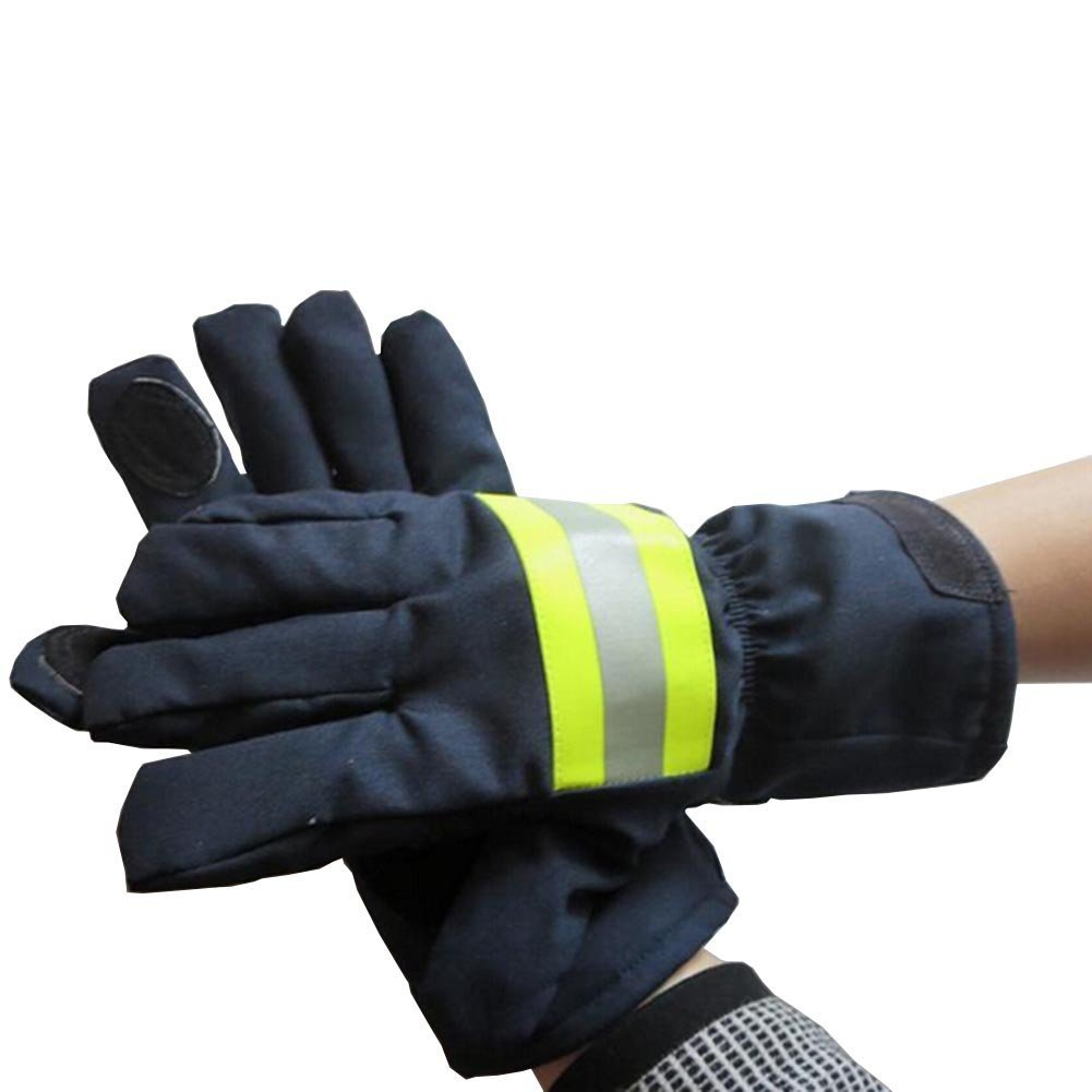 Babimax Guanti protettivi antincendio in pelle per fuoco, guanti isolanti ignifugo impermeabile 29cm X 13cm con nastro riflettente FAT-001