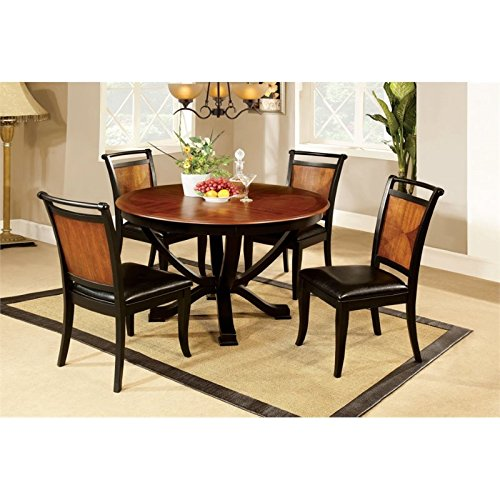 Furniture of America Sahrifa 5-Piece Duotone Round Dining Table Set, Acacia and Black Finish For Sale