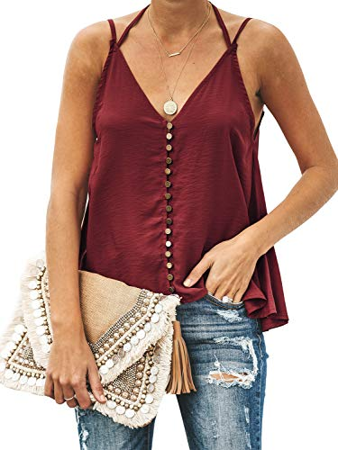 - GAMISOTE Women's Button Down Halter Tank Tops Loose Button Down Sleeveless Shirts Blouses Burgundy