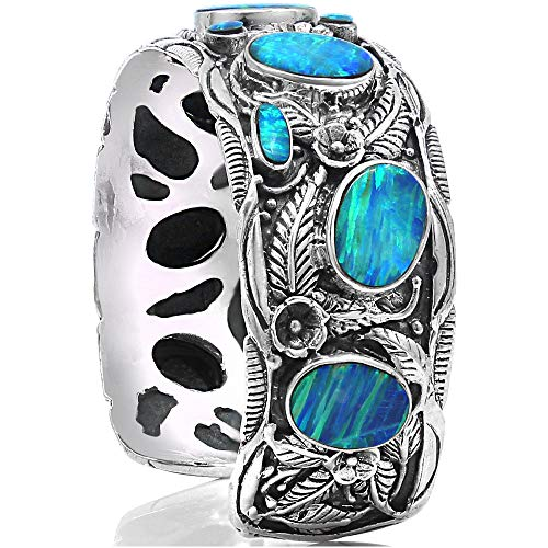 LEAVES CUFF Blue Opal Handmade 925 Sterling Silver Wide Bracelet - Made in Thailand