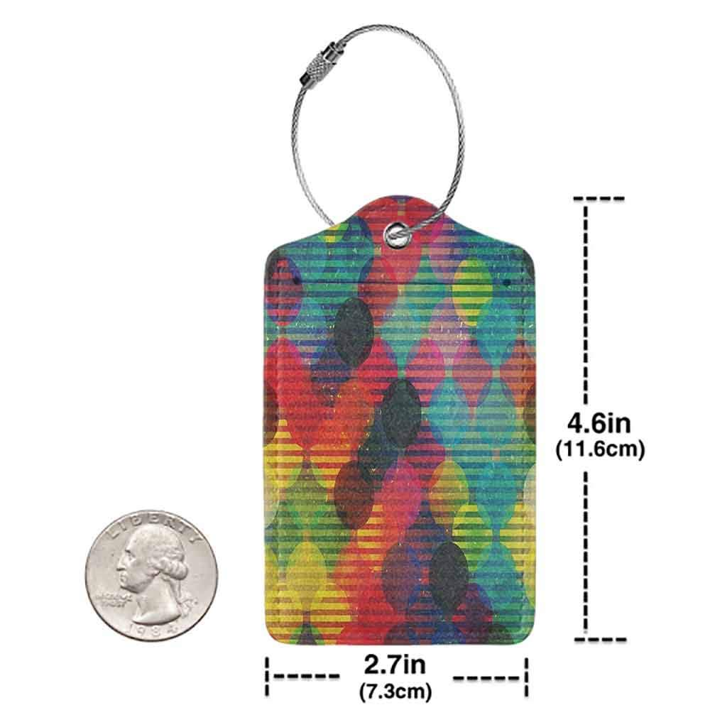Small luggage tag Geometric Circle Decor Psychedelic Digital Futuristic Spherical Figures Funky Grunge Decoration Quickly find the suitcase Multi W2.7 x L4.6