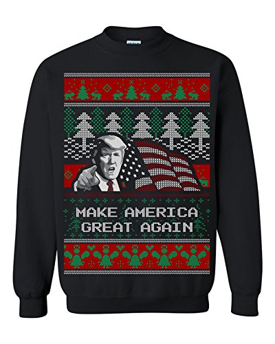 Donald Trump Make America Great Again Ugly Christmas Men Sweatshirt Black