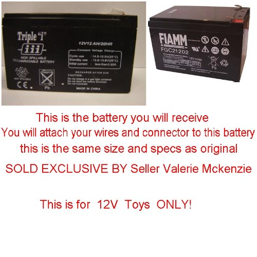 PLEASE READ AD CAREFUL!!! Replacement 12V battery for Kid trax & Peg Perego & Kid Motionz & Mega tredz Motion Tredz Riding Toys (You Must Use your own connector) By Pure Power Adapters ®