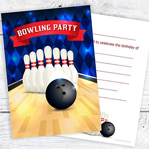 Bowling Party Birthday Invitations Kids Ten Pin Party Invites with envelopes