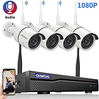 【2020 New 8CH Expandable】OHWOAI Security Camera System Wireless, 8CH 1080P NVR, 4Pcs 1080P HD Outdoor/ Indoor IP Cameras,Home CCTV Surveillance System (No Hard Drive)Waterproof,Remote Access,Plug&Play
