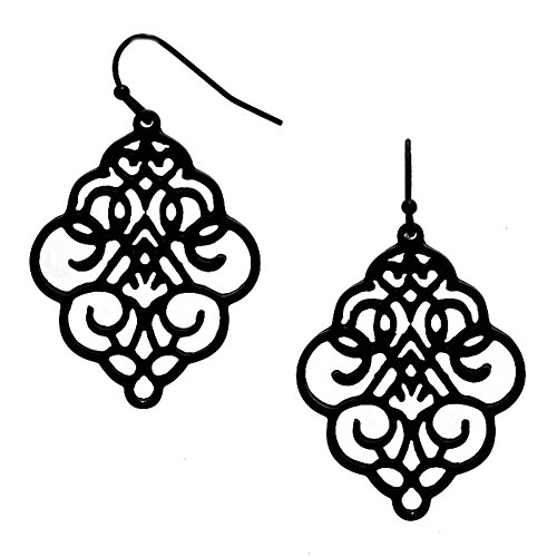 "Ornate Stylized Shield-Shaped Scrolled Filigree Open Work Matte Black Finish Dangle Earrings 1 3/4"" Long (Scrolled Flat)"