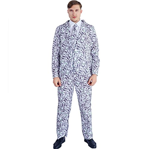 flatwhite Mens Party Suit Jacket Costume With Tie (100 Bill)