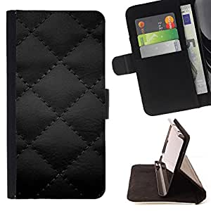BLACK LEATHER DIAMOND QUILT PRINT - Painting Art Smile Face Style Design PU Leather Flip Stand Case Cover FOR Samsung Galaxy S4 Mini i9190 @ The Smurfs