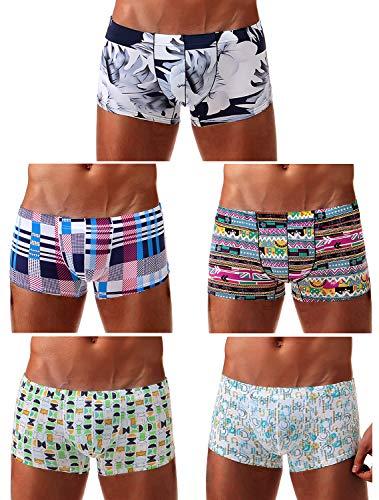 Arjen Kroos Mens Low Rise Printed Boxer Briefs Pouch Underwear,Multicolor(5-pack),Small/26.0-28.3 - Boxer Low Short Mens Rise