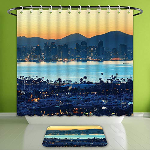 Waterproof Shower Curtain and Bath Rug Set Apartment Decor Collection San Diego at Sunrise in Harbor Waterfront Cityscape Bath Curtain and Doormat Suit for Bathroom Extra Long Size 72