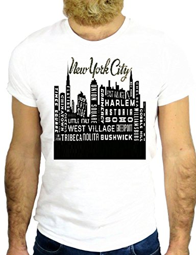 T SHIRT Z0654 NEW YORK CITY USA COOL VINTAGE AMERICA SKYLINE HIPSTER COTTON GGG24 BIANCA - WHITE S