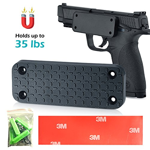 LacoBiz - Survival Magnetic Gun Holster - Mount & Holder For Vehicles, Home & Office - 35 lbs Rated Rubber Coated - Concealed Holder for Gun, Rifle, Shotgun, Pistol, Revolver, Car, Truck etc.
