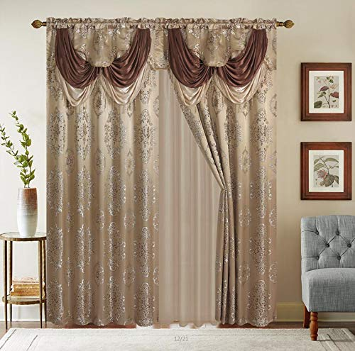 (Rod Pocket Jacquard Window 84 Inch Length Curtain Drape Panels w/ attached Valance + Sheer Backing + 2 Tassels - 84