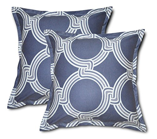 Creative 26x26 Inches Cotton Euro sham / Pillow Cover, Ventana, Set of 2