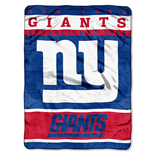 """The Northwest Company Officially Licensed NFL New York Giants 12th Man Plush Raschel Throw Blanket, 60"""" x 80"""""""