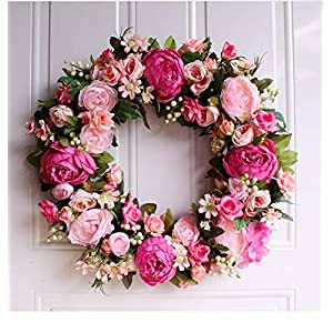 QIANDONG1 45Cm Simulation Pink Peony Garland Thanksgiving Wreath Home Decoration Welcome Front Door Wreath Housewarming Gifts 48