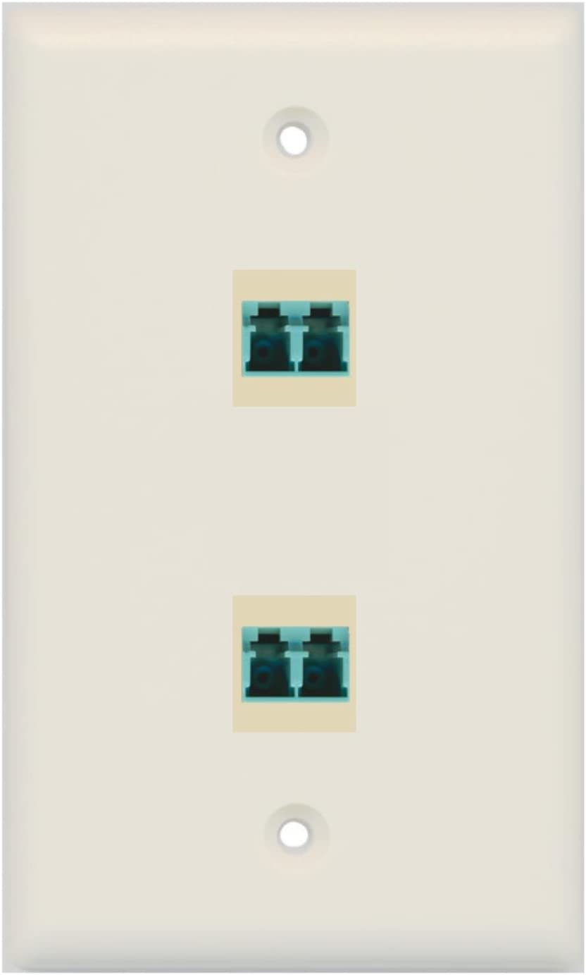 RiteAV 2 Port LC Fiber 10GB Duplex Wall Plate White