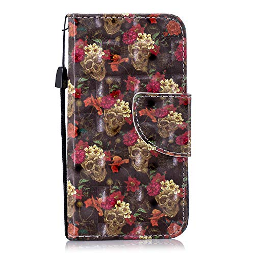 Luxury Flip PU Leather Cases for iPod Touch 5th/6th Generation Wallet Cover with Card Holder Stand Aeeque Slim Fit Shockproof Magnetic Wallet Case for iPod Touch 5 6 Phone Case, Red Rose Gold Skull (5th Case Generations Skull Ipod)