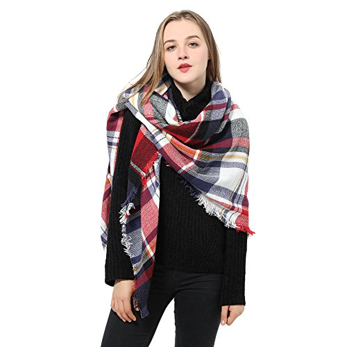 Blanket Red Tartan (Blanket Scarf for Women Square Plaid Scarf Womens Winter Tartan Scarf Wrap Shawl (J White Red))