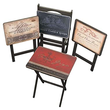 Cape Craftsman TV Tray Set with Stand, Tuscan Wine, Set of 4