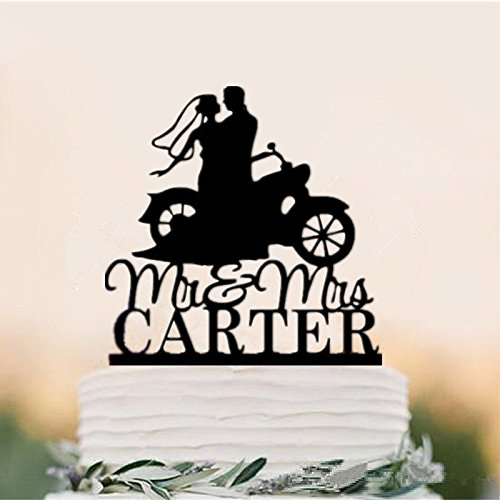 Custom Cake Topper Mr Mrs Motorcycle Couple Wedding Cake Toppers Personalized With Last Name For You by Tamengi