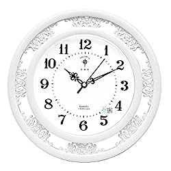 Lomoclock Wall Clock Metall Mute Quartz Sweep Clock Slient for Living Room Bedroom Kitchen AA Battery Black Retro Hollow Pattern Round with Abric Numerals 12 Inch (Battery not included) (White)