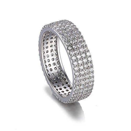 JewelryPalace 2.5ct Monde Bague Canal Anneau de Fiançailles Femme Hommes Alliance Mariage Anniversaire Canal en Argent Sterling 925 en Zircon Cubique de Synthèse CZ Taille 57