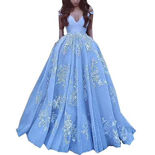 Jasminebridal Women's Off Shoulder Wedding Dresses For Bridal 2017 Quinceanera Dresses Prom Dresses With Pocket Ball Gowns Blue,8