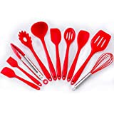 Zhao Xiemao Silicone Kitchenware Set Silicone Kitchenware 10 Piece Set of Silicone Scraper Shovel Spoon Oil Brush Food Clip. (Color : Red)