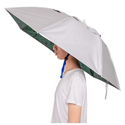 5125065fe2a89 Amazon.com   KINGSOO Hand Free Umbrella Hat for Adult with Free ...