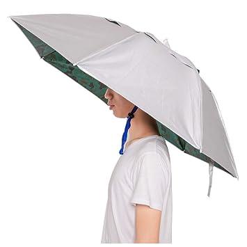 631bbd6476c48 KINGSOO Umbrella Hat,Hand Free Hat,Halloween Dress Up Head Wear with Free  Tighten Clip for Fishing Gardening Outdoor Hiking
