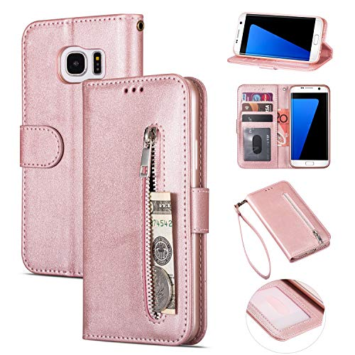 Galaxy S7 + Edge Wallet Case with Strap for Women/Men, Card Slots Multi-Function Premium Flip Leather Zipper Case with Kickstand Hidden Wallet & Money Pocket for Samsung Galaxy S7 Edge (Rose Golden)