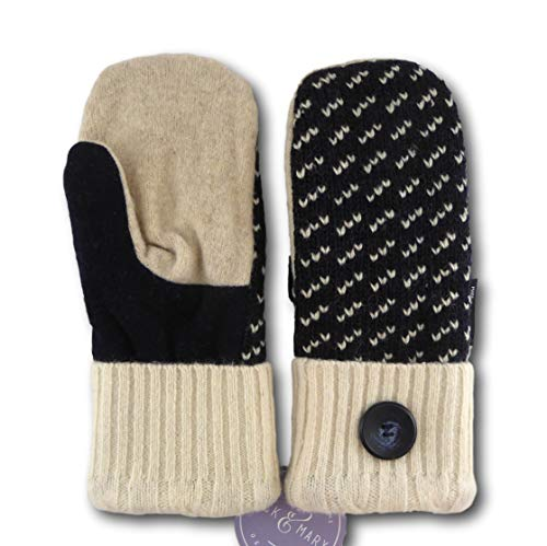 Jack & Mary Designs Handmade Womens Fleece-Lined Wool Mittens, Made from Recycled Sweaters in the USA (White/Black, Regular)
