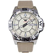 Seiko 5 Sports SRPA67 Men's Explorer Military Fabric Band Beige Dial Automatic Watch