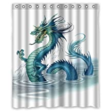 """Cool Bathroom Home Decoration,golden chinese dragon Shower Curtain, Shower Rings Included 100% Polyester Waterproof,60"""" x 72"""""""