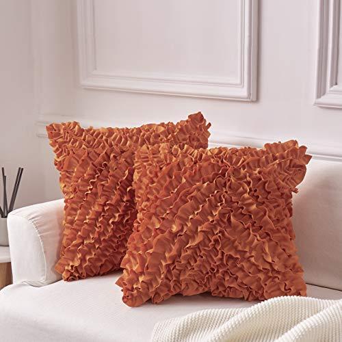 """MoMA Decorative Throw Pillow Covers (Set of 2) - Pillow Cover Sham Cover - Orange Throw Pillow Cover - Decorative Sofa Throw Pillow Cover - Square Decorative Pillowcase - Orange - 18"""" x 18"""""""