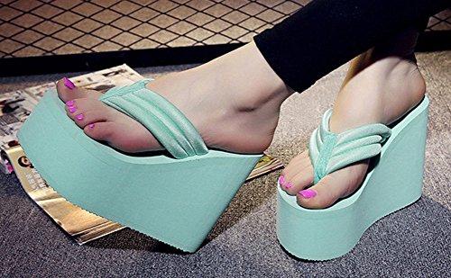 Qzunique Femmes Haut Talon Plateforme Compensée Tongs Sandales Mode Pantoufle Été Thong Bleu
