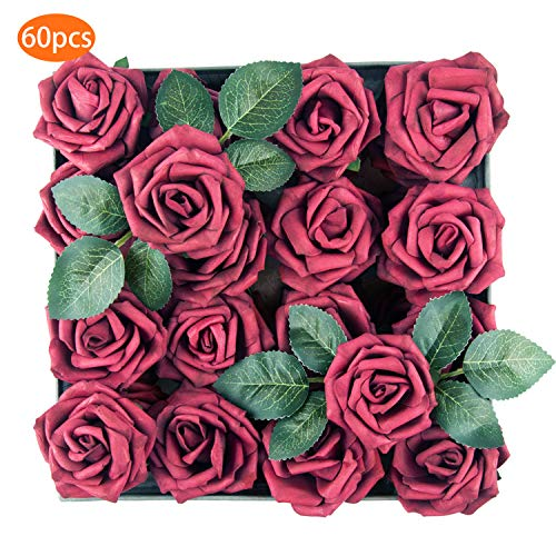 TOPHOUSE 60pcs Artificial Flowers Roses Real Touch Fake Roses for DIY Wedding Bouquets Bridal Shower Party Home Decorations (Wine) -