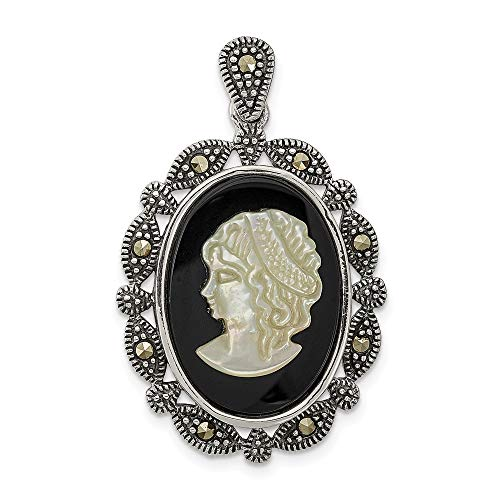 925 Sterling Silver Marcasite Black Agate Mop White Cameo Pendant Charm Necklace Slide Omega Fine Jewelry Gifts For Women For Her