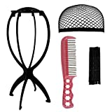 Rbenxia Wig Set 1pcs Black Wig Stand Holder 1pcs Black Mesh Hairnet Cap 1pcs Anti Static Wig Comb 1 Pack Hair Clips