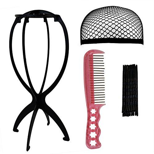 Rbenxia Wig Set 1pcs Black Wig Stand Holder 1pcs Black Mesh Hairnet Cap 1pcs Anti Static Wig Comb 1 Pack Hair Clips