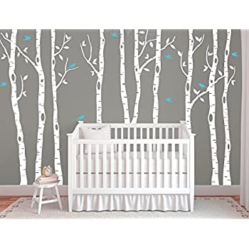 Large Birch Tree Decals For Walls, Wall Mural Decal, White Tree Wall Decal,