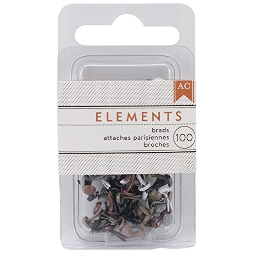 - American Crafts Elements 0.125-Inch Brads, Mini, Metallic, 100-Pack