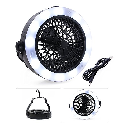 VEEPAE Camping Lantern, USB Powered or Battery Operated Fan, Tent Fan Light (2rd Generation), The Best Camping Gear for Truck Tent, Fishing, Emergencies, Hurricanes, Outages -