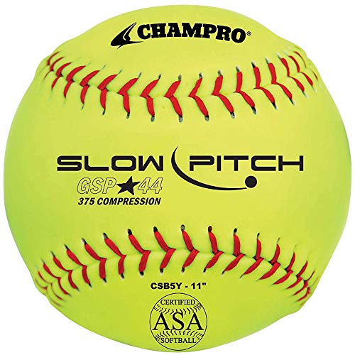 SChampro Game ASA Slow Pitch Softball, Poly Synthetic Cover, Red Stitches (Optic Yellow, 11-Inch) - 12 Count