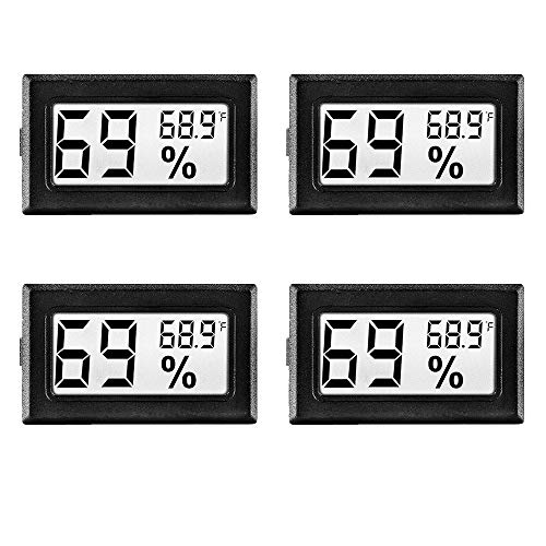 LinkDm 4 Pack Black Mini Digital Electronic Temperature Humidity Meters Gauge Indoor Thermometer Hygrometer LCD Display Fahrenheit (℉) for Humidors, Greenhouse, Garden, Cellar, Fridge, Closet ()